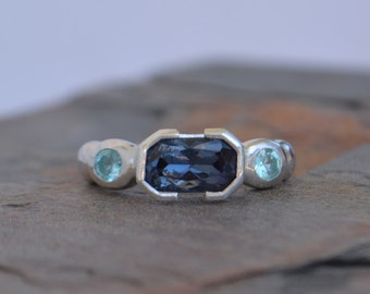 Spinel and Apatite Statement Ring, Handmade, Multistone Ring, Stacking Ring, Solitare Ring, Sterling Silver Size 5.5 5.75 6 6.25 6.5 6.75 7