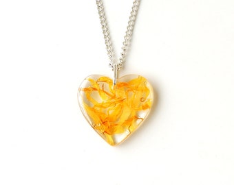 SALE: Yellow Flower Heart Necklace, Marigold Petals Resin Pendant, Flower Jewellery, Heart Jewellery, Botanical Resin Jewellery, UK, 2380