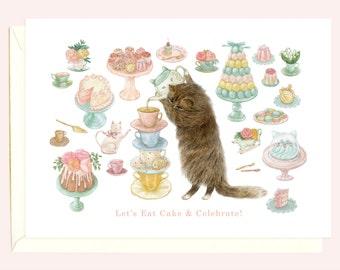 High Tea Kitty Birthday Card (Brown Cat)