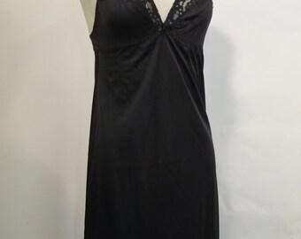 Vintage Black Lace Nylon Slip Small