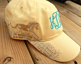 LADIES Horse Monogram Yellow Baseball Cap Hat Mom Bridesmaid Bride Bachelorette Pigment Dyed Beach Summer Western English Riding Equestrian