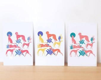 print set of 3 illustrated postcards / animal print / postcards / greeting cards