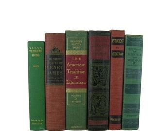 Green Red Books for Decorating, Decorative Books ,  Green Vintage  Books ,  Home Decor , Old Books ,  Christmas Decor , Wedding Decor