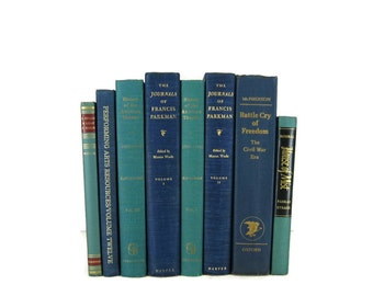 Blue Green Vintage Books, Old Books, Home Decor, Book Sets, Vintage Wedding Decor, Book Lover Gift, Photo Props, Book Stack, Book Collection