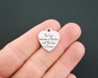 Mother Son Stainless Steel Charm - The love between a mother and her son is forever - Exclusive Line - Quantity Options - BFS1115