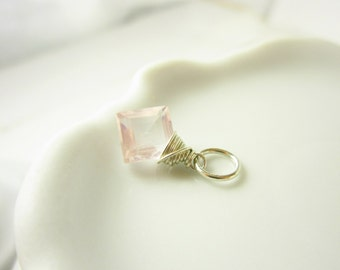Rose Quartz Pendant - Natural Stone Gemstone Pendant - Sterling Silver Pendant - Light Pink Quartz Jewelry - Feminine Jewelry