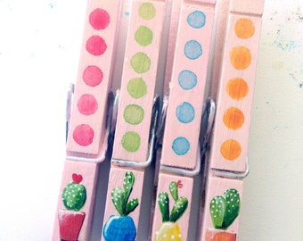 CACTUS CLOTHESPINS painted pink boho chic hipster urban decor