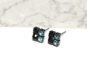 Small Stud Earrings with Black and Teal Blue Swarovski Crystals