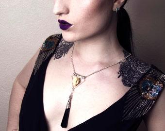 Gothic cat skull necklace geometric triangle art deco style pendant