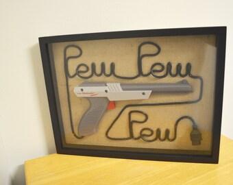 Nintendo NES Zapper Wall Art Shadow Box - Pew Pew Pew