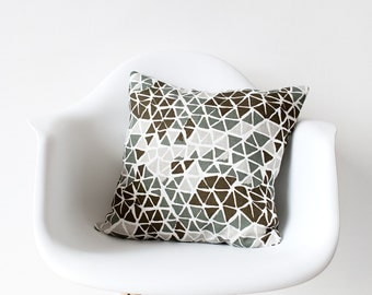 Green Triangles Pillow Cover sage moss