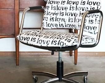 Mid-Century Custom Steelcase Office Chair - Love is Love