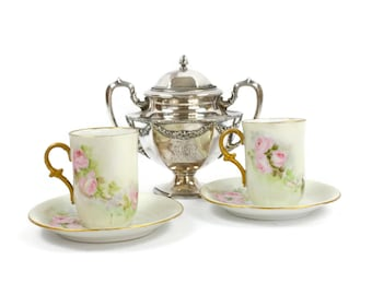 Antique Chocolate Cup and Saucer Set - SET of 2, Hand Painted Chocolate Cup, Pink Roses, Victorian Style, Cottage Chic, 19th Century
