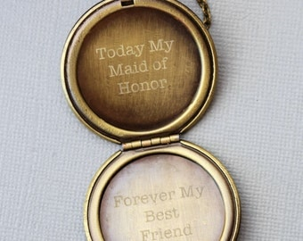 Personalized bridesmaid gift, Custom Engraved Locket ,Will You Be My Maid of Honor, Be my MOH necklace, Maid of Honor gift, Bridesmaid gift