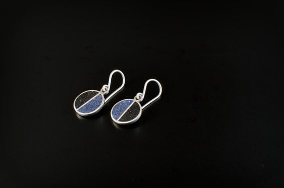 Sterling Silver Earrings, Divided Circles, Black and Blue, Modern, Contemporary, Minimal