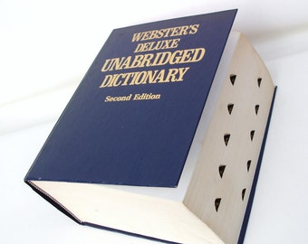 Vintage Dictionary, Large Decorative Book, Webster Dictionary, English Dictionary, Navy Blue Book