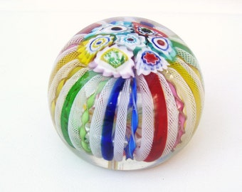 Vintage Glass Paper Weight | Millefiori Paperweight | Murano Glass | Zanfirico | Primary Rainbow Colors