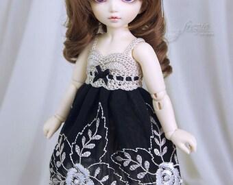 Black, beige & ecru dress for TINY bjd LittleFee Momocolor29/Momotree29, Saintbloom
