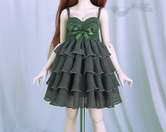 Navy green ruffle dress for MSD