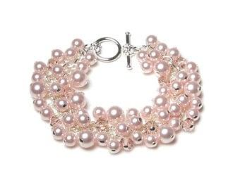 Rose Chiffon Swarovski Pearl Cluster Soft Pink Swarovski Crystal Silver Charm Bracelet Wedding Bridal Jewelry Set Bridesmaid Gifts for Women