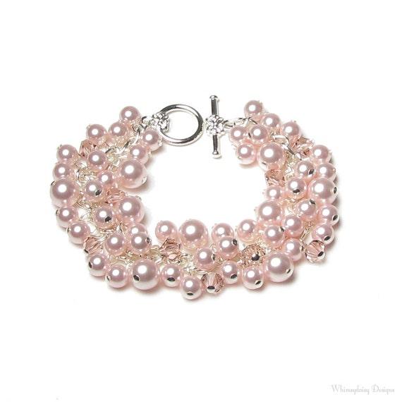 Rose Chiffon Swarovski Pearl & Pink Swarovski Crystal Silver Charm Bracelet, Pink Pearl Cluster Bracelet, Wedding Bracelet, Bridal Jewelry