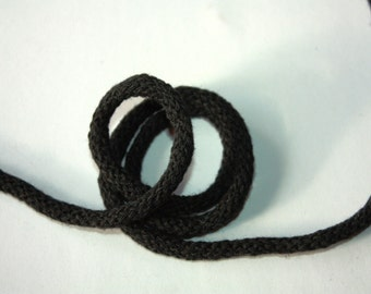 5 mm BLACK Cotton Rope = 5 Yards = 4.57 Meters of Elegant Cotton Braided Cord -Bulky Yarn-Super Bulky Yarn-Macrame Cotton Cord-Crochet Yarn