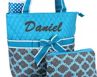 Personalized Diaper Bag Monogrammed Diaper Tote Bag Quilted Diaper Set