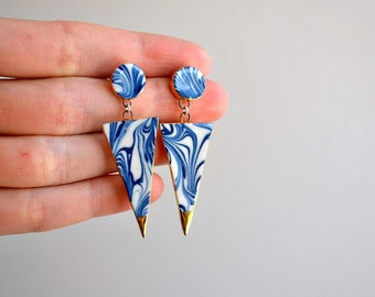 Warrior - Blue marbled triangle earrings - porcelain jewelry - porcelain dangle earrings