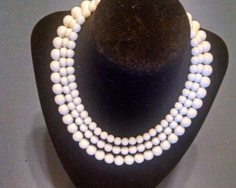 White Necklace Signed Japan Three Strands Plastic Beads Beach Resort Wedding Vintage 1940s Casual Wear