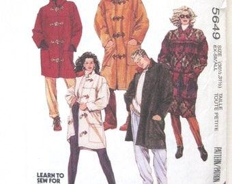 1990s Unisex Coat or Jacket Pattern, McCalls 5649, Mens Misses Teens Lined Duffle Coat & Detachable Hood Sewing Pattern, Size XS, UNCUT