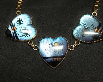Morpho Butterfly Wings Heart Bracelet Size 7.5 Gold Tone Metal Brazil