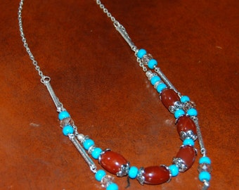 Red agate blue howlite champagne rondell crystal double strand necklace 20""