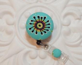 Badge Holder - Retractable Badge Holder - Nurse Badge Holder - Badge Reel - Turquoise Print