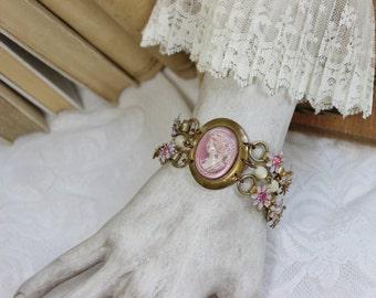 Blush- Antique Victorian Glass Cameo Assemblage Bracelet- Pink, White, Lavender- Enamel, Rhinestones,  Antiqued Brass, Mother of pearl