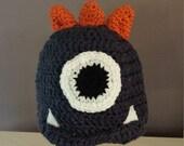 Baby Toddler Hat, One Eye Monster, Beanie Hat, Pixar Monster, Crochet, Denim Blue, Baby 6 to 18 Months