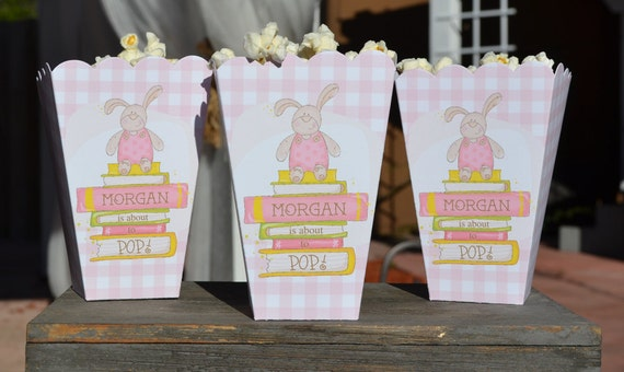 15 Bunny About To Pop Popcorn Boxes For Baby Girl Gingham With