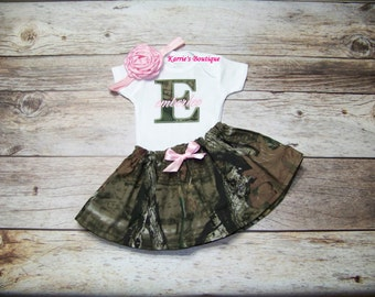 Personalized CAMO Outfit / Pink & Mossy Oak / Onesie or Shirt + Skirt / Take Home/ Infant / Baby / Girl / Toddler / Custom Boutique Clothing