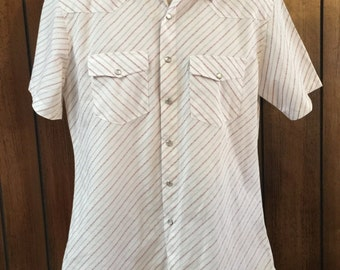 Vintage Saxifon Men's White Striped  Urban Cowboy Western Shirt Peal Snap Buttons