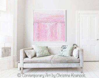 ORIGINAL Art Abstract Painting Pink White Grey Wall Art Home Decor Colorful Modern Coastal Decor Textured Artwork READY to SHIP - Christine