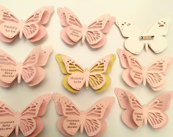 12 Butterfly Baby Shower Mommy to be Pin Baby Shower Corsage