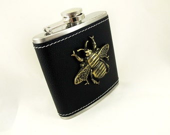 Flask,  Steampunk Giant Brass Bee leatherette Wrapped 6 Ounce Flask Mens Womens Gift Handmade