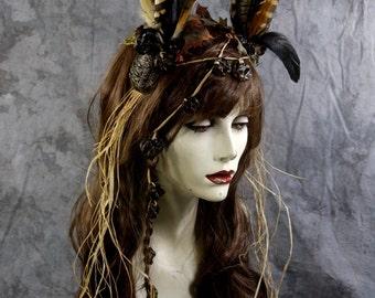 Spring Sale: Woodland Tribal Fairy Full Wig Brown w Feather Headpiece Costume Renaissance Wedding  BOHO Gypsy Larp Cosplay Burning Man Pegan