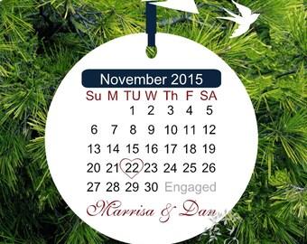 Engagement Christmas Ornament - Recently Engaged - Enagement Gift - Personalized Porcelain Holiday Ornament - Lovebirdslane