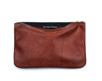 JANE Whiskey Leather Clutch. Brown Leather Clutch. Brown Leather Pouch. Leather Makeup Bag