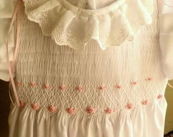 Girls Custom Hand Smocked Cotton  Dress with  Flutter Sleeves. Flower Girl. Beach Portrait.