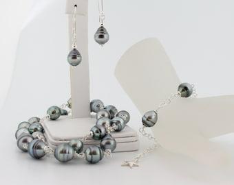 Tahitian pearl necklace bracelet earrings, jewelry set, saltwater, black pearls, baroque, anti-tarnish bag, sterling silver: Simply Adorned
