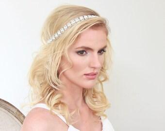 Crystal Headband Tie on Bridal Wedding Accessories