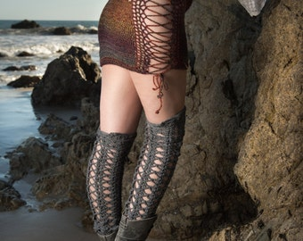Moon's Eye Corset Stockings. Thigh Highs. Socks. Knee Socks. Leg Warmers. Fall. Winter. Fashion Socks. Boot Toppers. Crochet Stockings. OOAK