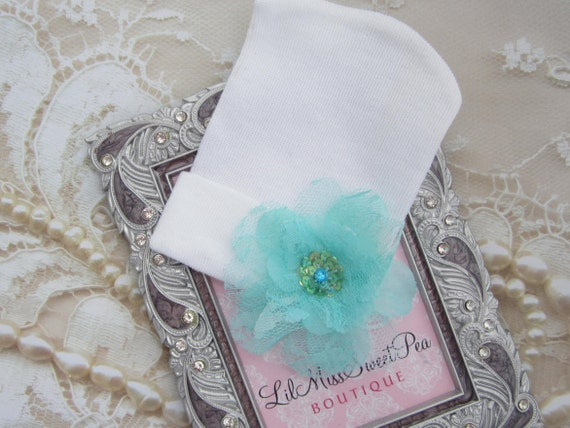 Newborn Hospital Hat, White with an Aqua Lace and Sequin Flower, infant beenie, baby girl hat, new baby beenie by Lil Miss Sweet Pea