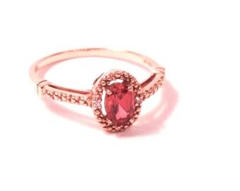 Vintage Faux Ruby Diamond Ring, 10K, Yellow Gold